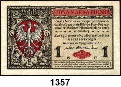 P A P I E R G E L D,Deutsche Besatzungsausgaben des Ersten Weltkrieges Rußland, Generalgouvernement Warschau 1917 1 Mark 9.12.1916.  Ros. EWK-16 a.