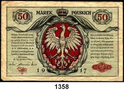 P A P I E R G E L D,Deutsche Besatzungsausgaben des Ersten Weltkrieges Rußland, Generalgouvernement Warschau 1917 50 Mark 9.12.1916.  Ros. EWK-21.