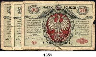 P A P I E R G E L D,Deutsche Besatzungsausgaben des Ersten Weltkrieges Rußland, Generalgouvernement Warschau 1917 50 Mark 9.12.1916.  Ros. EWK-21.  LOT 3 Scheine.
