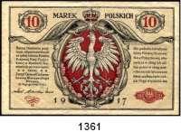 P A P I E R G E L D,Deutsche Besatzungsausgaben des Ersten Weltkrieges Rußland, Generalgouvernement Warschau 1917 10 Mark 9.12.1916.  Ros. EWK-29.