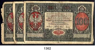 P A P I E R G E L D,Deutsche Besatzungsausgaben des Ersten Weltkrieges Rußland, Generalgouvernement Warschau 1917 100 Mark 9.12.1916.  Ros. EWK-31.  LOT 3 Scheine.