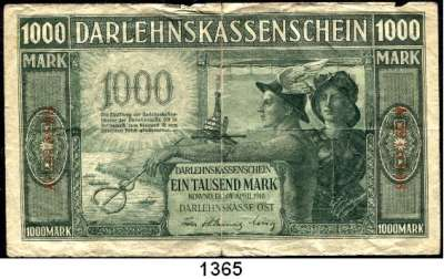 P A P I E R G E L D,B E S A T Z U N G S A U S G A B E N     I. W E L T K R I E G Besatzungsausgaben in Rußland 1000 Mark 4.4.1918.  Ros. EWK-47 b.