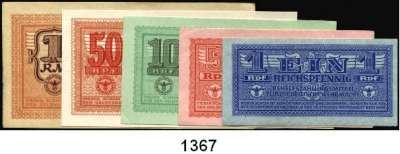 P A P I E R G E L D,Wehrmachtsausgaben des II. Weltkrieges Behelfszahlungsmittel für die Deutsche Wehrmacht 1 Reichspfennig bis 1 Reichsmark o.D.  Ros. DWM-2 a, 3, 4, 5, 6.  LOT 5 Scheine.