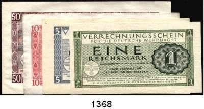 P A P I E R G E L D,Wehrmachtsausgaben des II. Weltkrieges Verrechnungsscheine für die Deutsche Wehrmacht 1, 5, 10 und 50 Reichsmark 15.9.1944.  Ros. DWM-8, 9, 10, 11 b.  LOT 4 Scheine.