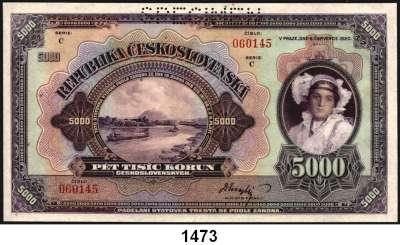 P A P I E R G E L D,AUSLÄNDISCHES  PAPIERGELD Tschechoslowakei 5000 Kronen 6.7.1920.