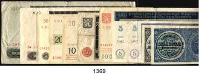 P A P I E R G E L D,Besatzungsausgaben des II. Weltkrieges Protektorat Böhmen und Mähren 1 Krone bis 1000 Kronen.  Ros. ZWK-7 b, 8 a, 9 a,10 a, 12 a, 13 a, 14 a, 15 e, 16 a, 18 a, 20 a.  LOT 11 Scheine.
