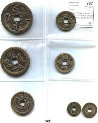AUSLÄNDISCHE MÜNZEN,China L O T S     L O T S     L O T S LOT von 7 Cashmünzen.   1 Cash(2); 10 Cash(3); 50 und 100 Cash o.J. (Mitte des 19. Jahrhunderts).  22 bis 52 mm Ø