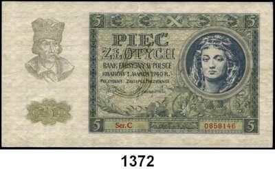 P A P I E R G E L D,Besatzungsausgaben des II. Weltkrieges Generalgouvernement Polen 1 Zloty bis 500 Zloty 1.3.1940.  Ros.  ZWK-26 bis ZWK-33.  LOT 8 Scheine.