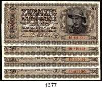 P A P I E R G E L D,Besatzungsausgaben des II. Weltkrieges Zentralnotenbank Ukraine 1942 20 Karbowanez 10.3.1942.  Ros.  ZWK-51 a.  LOT 4 Scheine mit fortlaufenden Nummern.