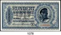 P A P I E R G E L D,Besatzungsausgaben des II. Weltkrieges Zentralnotenbank Ukraine 1942 100 Karbowanez 10.3.1942.  Ros.  ZWK-53 a.