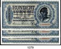P A P I E R G E L D,Besatzungsausgaben des II. Weltkrieges Zentralnotenbank Ukraine 1942 100 Karbowanez 10.3.1942.  Ros.  ZWK-53 a.  LOT 3 Scheine mit fortlaufenden Nummern.