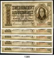 P A P I E R G E L D,Besatzungsausgaben des II. Weltkrieges Zentralnotenbank Ukraine 1942 200 Karbowanez 10.3.1942.  Ros. ZWK-54 b.  LOT 5 Scheine mit fortlaufenden Nummern.