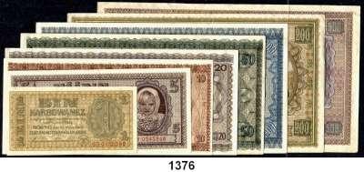 P A P I E R G E L D,Besatzungsausgaben des II. Weltkrieges Zentralnotenbank Ukraine 1942 1 bis 500 Karbowanez 10.3.1942 (ohne 2 Karbowanez)    LOT 8 Scheine