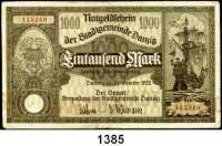 P A P I E R G E L D,D A N Z I G  1000 Mark 31.10.1922.  Ros. DAN-18.