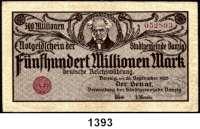 P A P I E R G E L D,D A N Z I G  500 Millionen Mark 26.9.1923.  Ros. DAN-31 b.