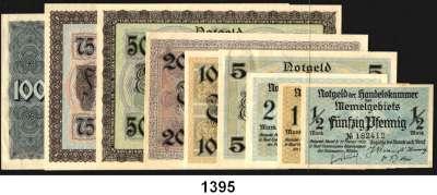 P A P I E R G E L D,Memelgebiet Notgeld der Handelskammer des Memelgebietes 1922 1/2 bis 100 Mark 22.2.1922.  Ros. MEM-1 bis MEM-9.