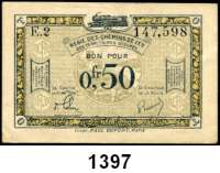 P A P I E R G E L D,Franz.-Belg.Eisenbahnverwaltung im besetzten Rheinland 1923  0,50 Francs o.D.  Serie E 2.  Ros. RPR-59.