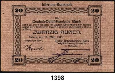 P A P I E R G E L D,D E U T S C H E      K O L O N I E N Deutsch-Ostafrika 20 Rupien 15.3.1915.  Typ 1.  Unterschrift violett.  Ros. DOA-7 b.