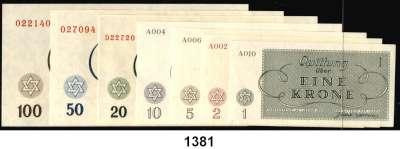 P A P I E R G E L D,L A G E R G E L D Theresienstadt 1 bis 100 Kronen 15.5.1940.  Ros. GET-8 bis 14.  Grabowski Th 1 bis 7.  LOT 7 Scheine.
