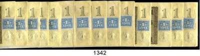 P A P I E R G E L D,D D R  1 DM-Kupon 1948 auf 1 Rentenmark.  Ros. SBZ-1.  3x fortlaufende Nummerierung (10x,16x, 16x).  LOT 42 Scheine.