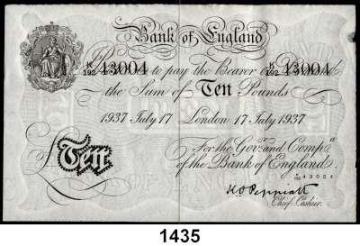 P A P I E R G E L D,AUSLÄNDISCHES  PAPIERGELD Großbritannien Falsche Pfundnoten - Operation Bernhard.  10 Pfund  17.Juli 1937 London.  Pick 336 a.