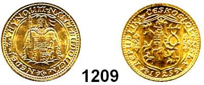 AUSLÄNDISCHE MÜNZEN,Tschechoslowakei Republik, 1918 - 1939 Dukat 1923, Kremnitz  (3,44g fein).  Schön 12.  KM 8.  Fb. 2.  GOLD.