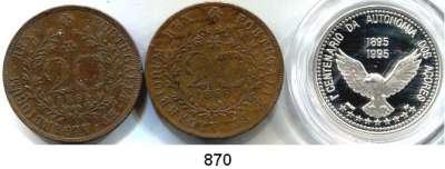 AUSLÄNDISCHE MÜNZEN,Azoren  20 Reis 1865, 1866 und 100 Escudos 1995 (PP, Silber, Im Originaletui).  Kahnt/Schön 9(2) und 7.  KM 15(2) und 47 a.  LOT 3 Stück.