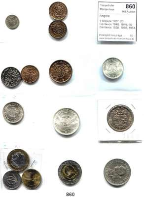 AUSLÄNDISCHE MÜNZEN,Angola  1 Macuta 1927; 20 Centavos 1948, 1949; 50 Centavos 1928, 1950, 1954; 1 Escudo 1974; 10 Escudos 1952, 1955, 1969; 20 Escudos 1955; 50 Centimos, 1, 5 und 10 Kwanzas 2012.  LOT 15 Stück.