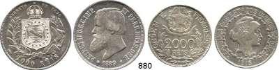 AUSLÄNDISCHE MÜNZEN,Brasilien L O T S     L O T S     L O T S 2000 Reis 1889 und 1913.  Kahnt/Schön 20 und 180.  KM 485 und 511.  LOT 2 Stück.