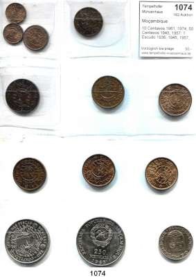 AUSLÄNDISCHE MÜNZEN,Moçambique  10 Centavos 1961, 1974; 50 Centavos 1945, 1957; 1 Escudo 1936, 1945, 1957, 1962, 1968, 1973, 1974; 50 Meticais 1983 FAO und 250 Meticais 1985.  LOT 13 Stück.