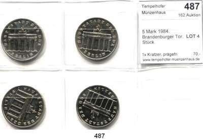 Deutsche Demokratische Republik,  5 Mark 1984.  Brandenburger Tor.  LOT 4 Stück.