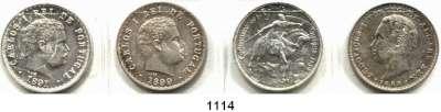 AUSLÄNDISCHE MÜNZEN,Portugal L O T S     L O T S     L O T S 500 Reis 1888, 1891, 1899 und 10 Escudos 1928