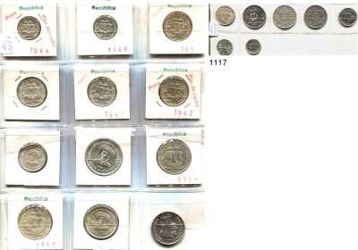 AUSLÄNDISCHE MÜNZEN,Portugal L O T S     L O T S     L O T S LOT von 19 Silbermünzen von 1912 bis 1960.  10 Centavos 1915; 20 Centavos 1916; 50 Centavos 1912, 1913, 1914, 1916; 2 1/2 Escudos 1944, 1947, 1948; 5 Escudos 1933, 1942, 1947, 1948, 1951, 1960; 10 Escudos 1954, 1955, 1960 und 20 Escudos 1960.