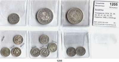 AUSLÄNDISCHE MÜNZEN,Südafrika LOTS      LOTS      LOTS Threepence 1934, 35, 36, 39, 40, 41, 42, 43, 59; Sixpence 1896; 2 Shillings 1896 und 1940.  LOT 12 Stück.
