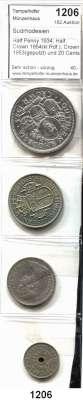 AUSLÄNDISCHE MÜNZEN,Südrhodesien  Half Penny 1934; Half Crown 1954(kl.Rdf.); Crown 1953(geputzt) und 20 Cents 1964.  Schön 1, 30, 31, 42.  KM 6, 31, 27, 3.  LOT 4 Stück.