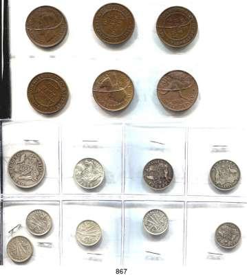 AUSLÄNDISCHE MÜNZEN,Australien L O T S     L O T S     L O T S Half Penny(6); Threepence 1911, 1942, 1947, 1951, 1960; Sixpence 1911, 1919 M, 1963 und Shilling 1914.  LOT 15 Stück.