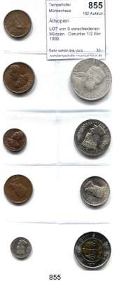 AUSLÄNDISCHE MÜNZEN,Äthiopien  LOT von 9 verschiedenen Münzen.  Darunter 1/2 Birr 1889.