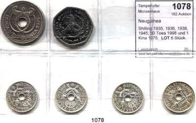 AUSLÄNDISCHE MÜNZEN,Neuguinea  Shilling 1935, 1936, 1938, 1945; 50 Toea 1998 und 1 Kina 1975.  LOT 6 Stück.