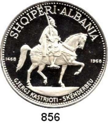 AUSLÄNDISCHE MÜNZEN,Albanien  5, 10 und 25 Leke 1968.  Schön 49 bis 51.  KM 49, 50, 52.  500. Todestag von Skanderbeg  SATZ 3 Stück.  Mit Zertifikat.