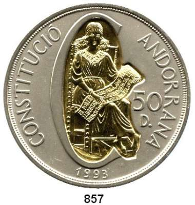 AUSLÄNDISCHE MÜNZEN,Andorra  50 Diners 1994 (5 Unzen Silber mit Inlay aus 916er Gold, 3,6 Gramm).  Schön 111.  KM 104.  Verfassung.  Im Etui.