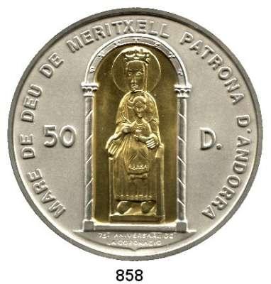 AUSLÄNDISCHE MÜNZEN,Andorra  50 Diners 1996 (5 Unzen Silber mit Inlay aus 916er Gold, 2,5 Gramm).  Schön 131.  KM 124.  Madonna von Meritxell.