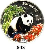 AUSLÄNDISCHE MÜNZEN,China Volksrepublik seit 1949 10 Yuan 1997 (Silberunze/ Farbmünze).  Panda nach rechts im Wald.  Schön 1003.  KM 996.  In Kapsel mit Zertifikat.