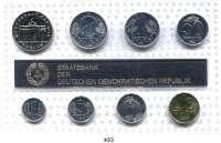 Deutsche Demokratische Republik,K U R S S Ä T Z E  Kurssatz 1989    1 Pfennig bis 5 Mark Brandenburger Tor