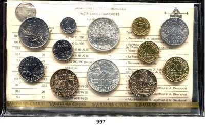 AUSLÄNDISCHE MÜNZEN,Frankreich 5. Republik seit 1958 Kurssatz 1985. (12 Werte. Centime bis 2x 100 Francs)  KM SS 22.