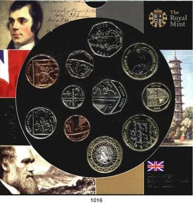 AUSLÄNDISCHE MÜNZEN,Großbritannien Elisabeth II. 1952 - Kurssatz 2009 (11 Werte. Penny bis 3x 2 Pfund).