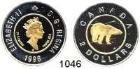 AUSLÄNDISCHE MÜNZEN,Kanada Elisabeth II. 1952 - 2 Dollars 1996.  Bi-Metall Gold/Silber.  (Gold 5,74g fein).  Eisbär.  Schön 270.  KM 270.  GOLD