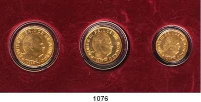 AUSLÄNDISCHE MÜNZEN,Monaco Rainier III. 1949 - 2005 Centimes Goldsatz 1962.  10, 20 und Centimes 1962
