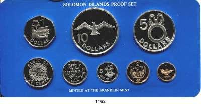 AUSLÄNDISCHE MÜNZEN,Salomon-Inseln  Kurssatz 1981 (8 Werte. Cent bis 10 Dollars).  KM PS 5.  Auflage 448 Sätze.  Im Originaletui.