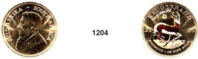AUSLÄNDISCHE MÜNZEN,Südafrika Republik, seit 1961 Krugerrand Brilliant Edition (Auflage 500 Stück).  Goldunze Krugerrand 2005 mit Diamant (0,04 ct.), farbig coloriert
