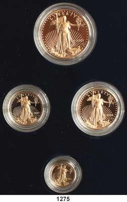 AUSLÄNDISCHE MÜNZEN,U S A  American Eagle Gold Proof Set 2003.  5, 10, 25 und 50 Dollars 2003 W.  (zus. 57,54g fein).  Schön 217 bis 220.  KM 216 bis 219.  Fb. B 1 bis 4.  Im Originaletui mit Zertifikat.  GOLD